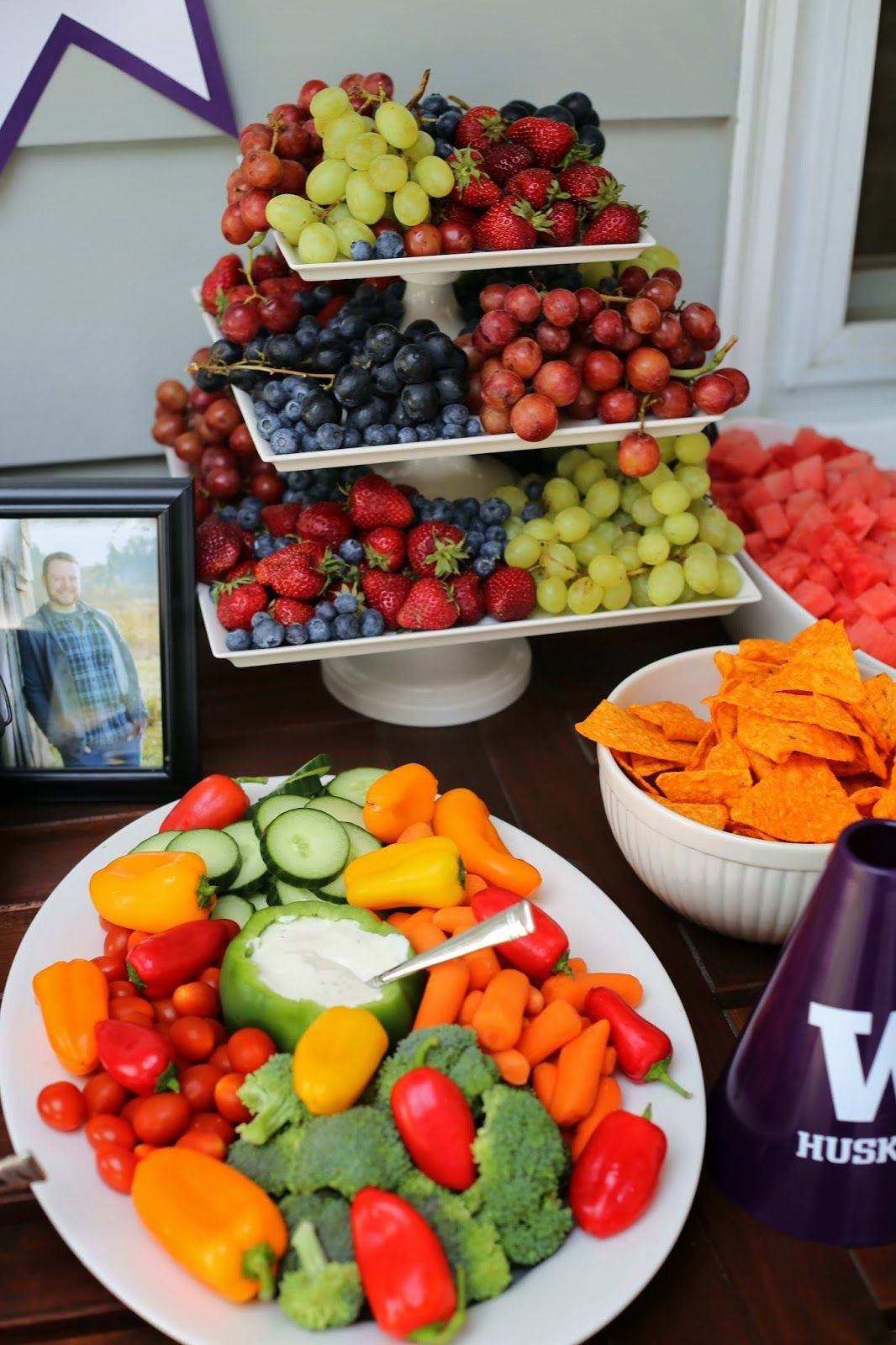 Outdoor Graduation Party Food Ideas  UW Graduation party food table purple and gold party Use