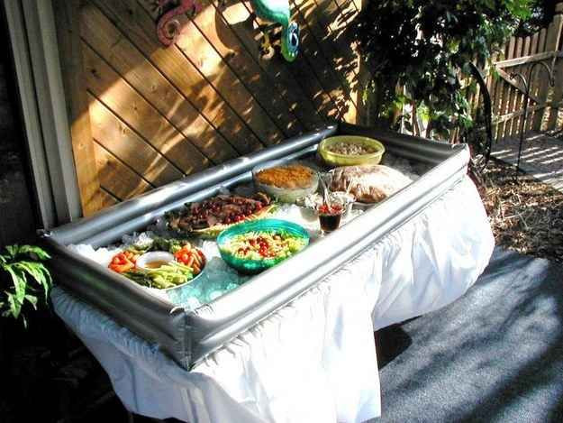 Outdoor Graduation Party Food Ideas  Try an inflatable tabletop cooler to keep all your food