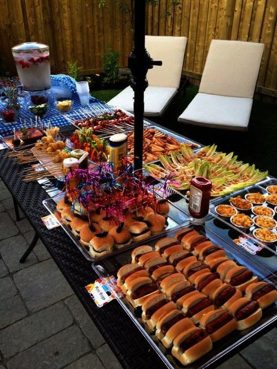 """Outdoor Graduation Party Food Ideas  Outdoor bbq I like that all of the food is """"mini"""