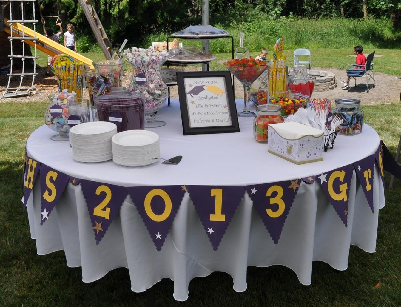 Outside Graduation Party Ideas  Grad party Buffet I like the idea of a round table