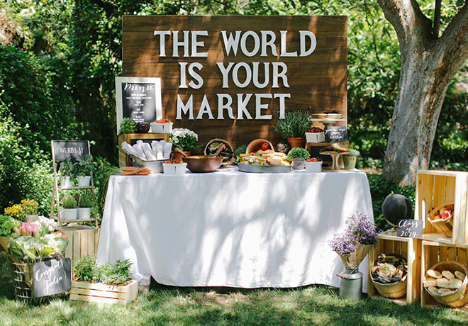 "Outside Graduation Party Ideas  ""The World is Your Market"" Graduation Party Theme Evite"