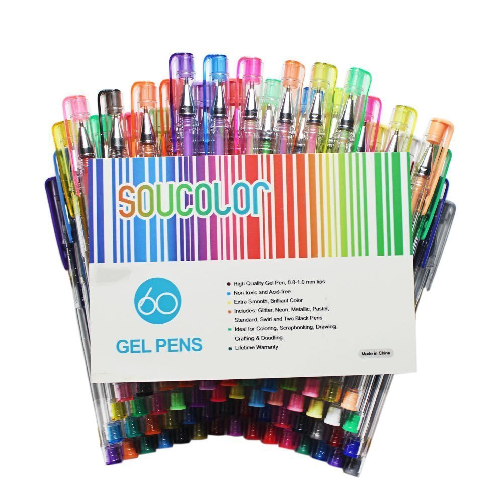 Pens For Adult Coloring Books  Soucolor Gel Pens for Adult Coloring Books Set of 60