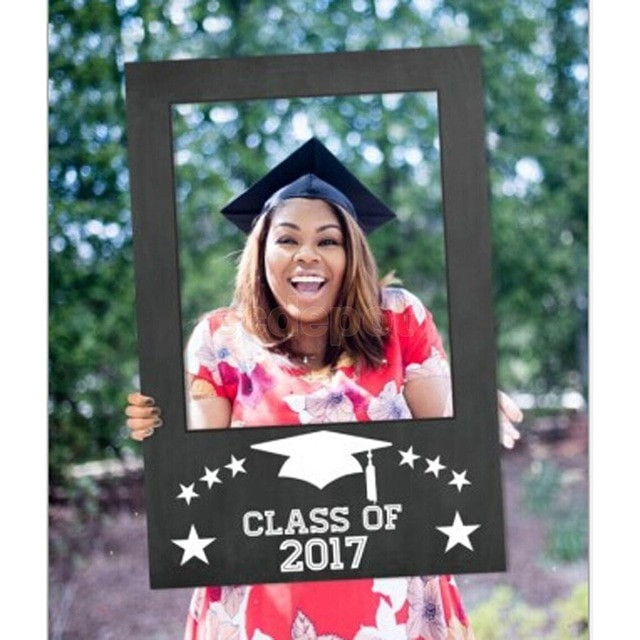 Photo Booth Ideas For Graduation Party  Class of 2017 DIY Chalkboard Selfie Frame Booth Prop