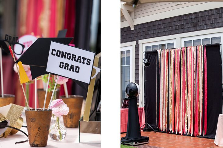 Photo Booth Ideas For Graduation Party  photo booth backdrop ribbon backdrop graduation photo