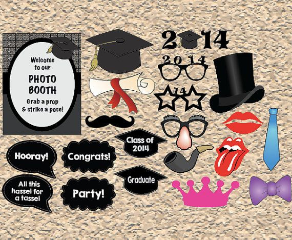 Photo Booth Ideas For Graduation Party  printable Graduation photo booth props digital graduation