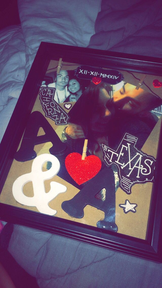 Picture Gift Ideas For Boyfriend  Shadow box I made for my boyfriend in Texas