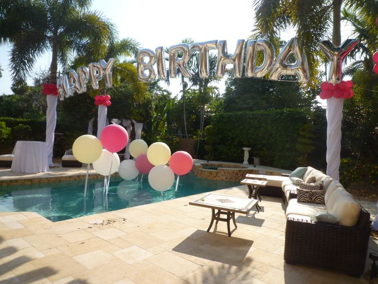 Pinterest Backyard Party Ideas  Birthday balloon arch over a swimming pool Backyard party