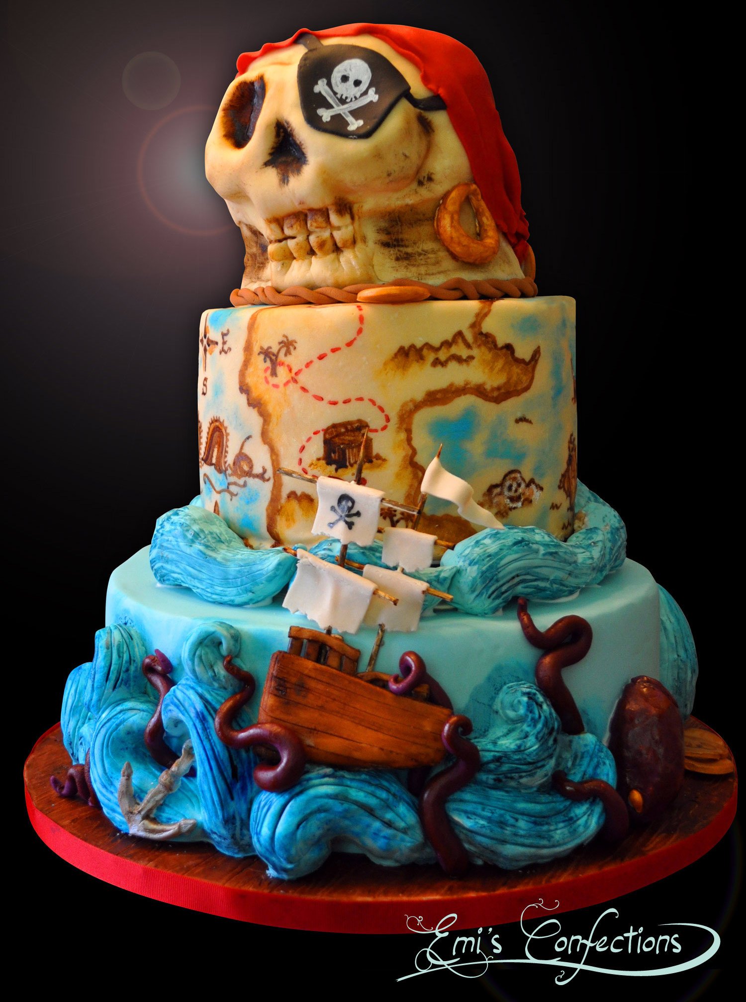 Pirate Birthday Cake  Awesome pirate ship treasure map and skull cake Emi