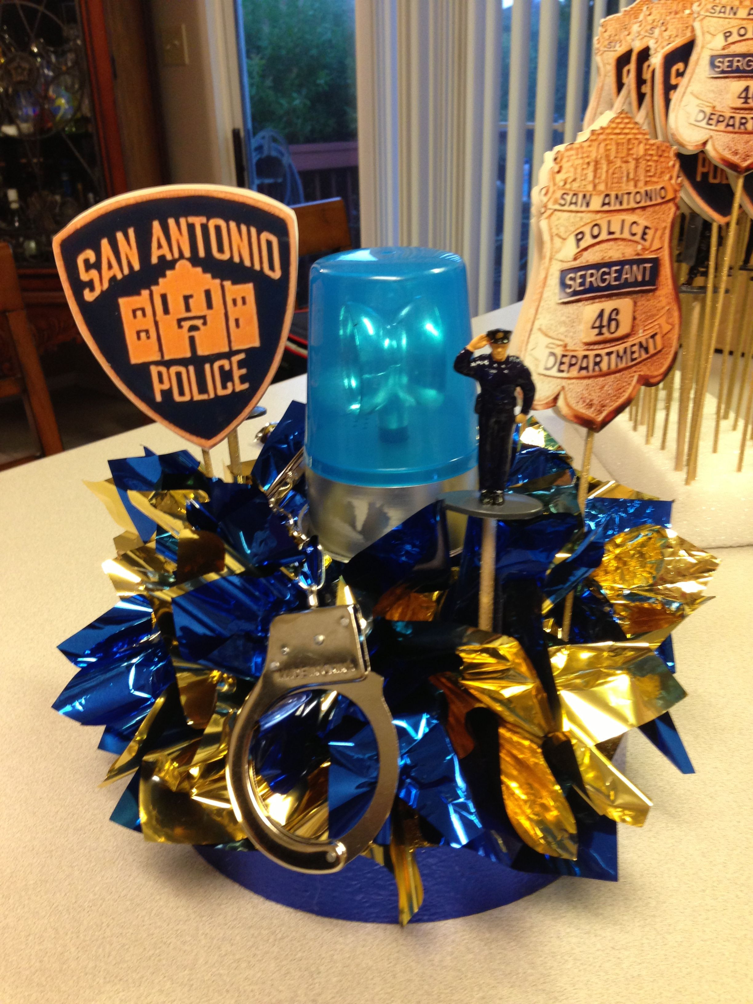Police Officer Retirement Party Ideas  Police Party DIY centerpiece for police officer retirement