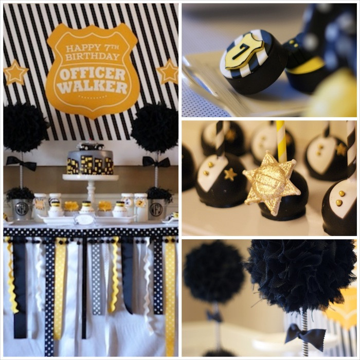 Police Officer Retirement Party Ideas  Kara s Party Ideas Preppy Police Man Themed Birthday Party