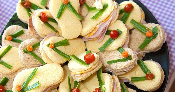 Pool Party Appetizer Ideas  Flip flop sandwiches Finger Sandwiches