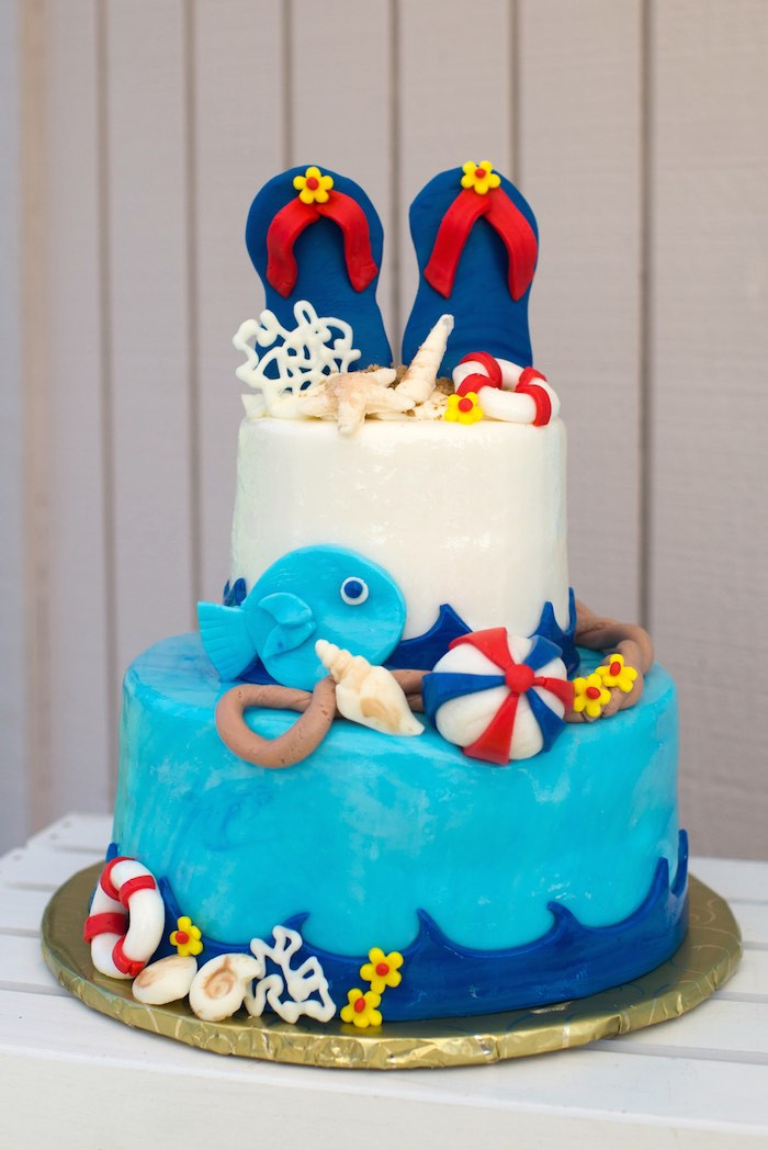 Pool Party Cake Ideas For Birthdays  Kara s Party Ideas Colorful Pool Themed Birthday Party