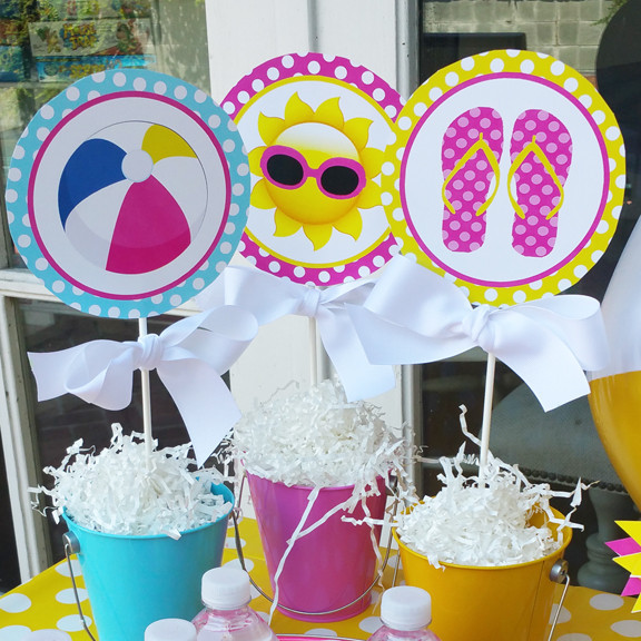 Pool Party Centerpieces Ideas  Splash Pool Party Centerpiece Toppers by That Party Chick
