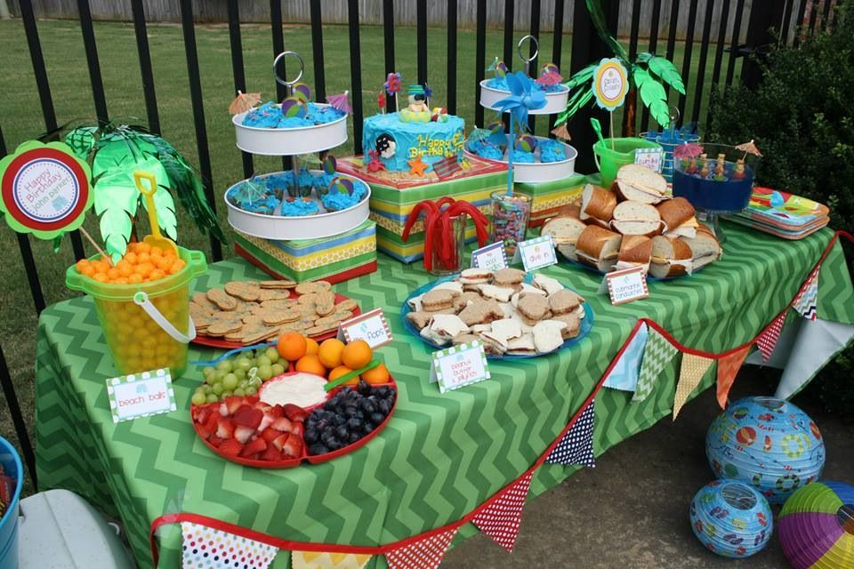 Pool Party Centerpieces Ideas  Pool party table decor Party Pinterest