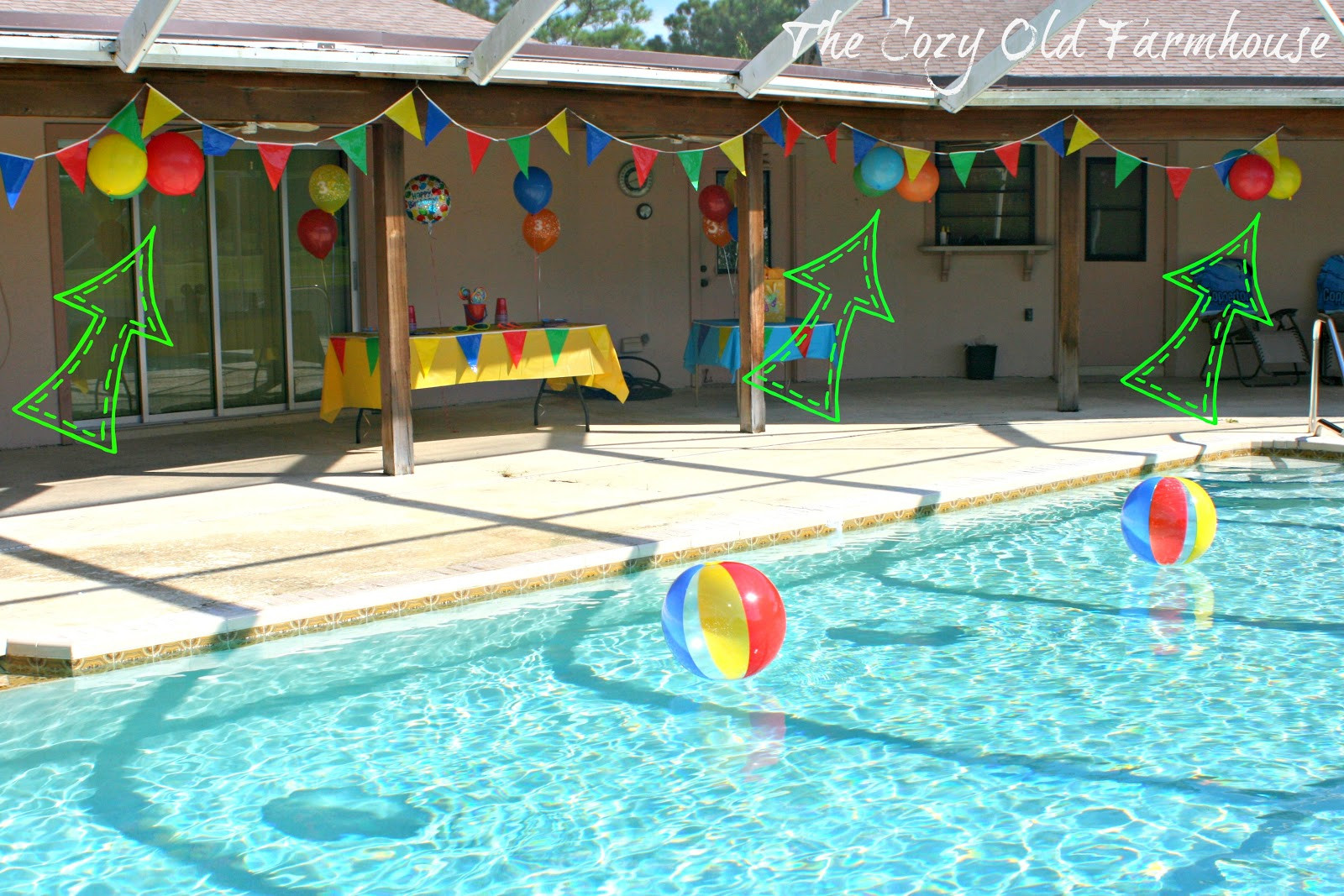 """Pool Party Centerpieces Ideas  The Cozy Old """"Farmhouse"""" Simple and Bud Friendly Pool"""
