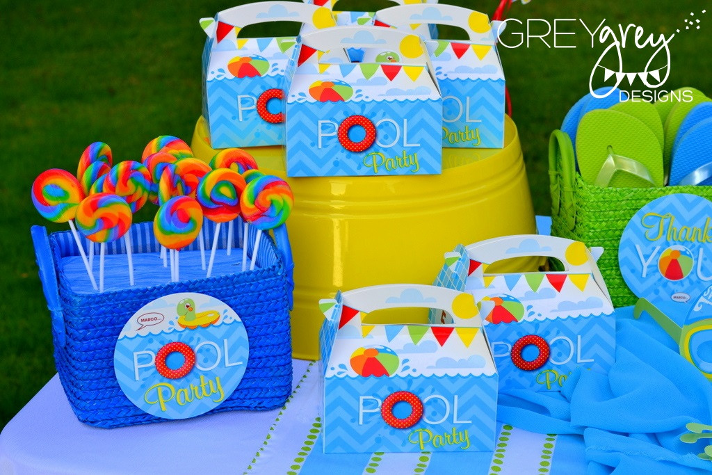 Pool Party Goody Bag Ideas  GreyGrey Designs My Parties Summer Pool Party by