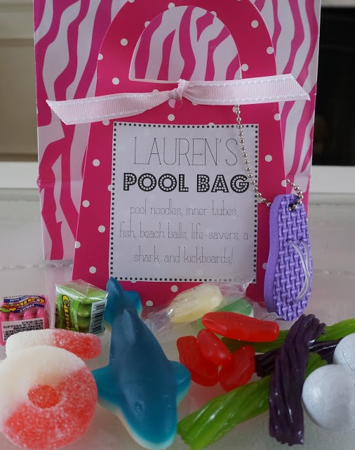 """Pool Party Goody Bag Ideas  """"pool bag"""" candy favor for a pool party"""