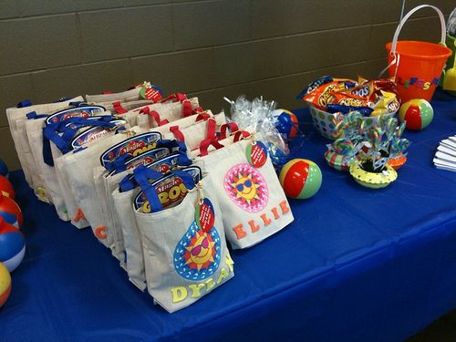 Pool Party Goody Bag Ideas  Pool Party goo bags personalized canvas bags filled