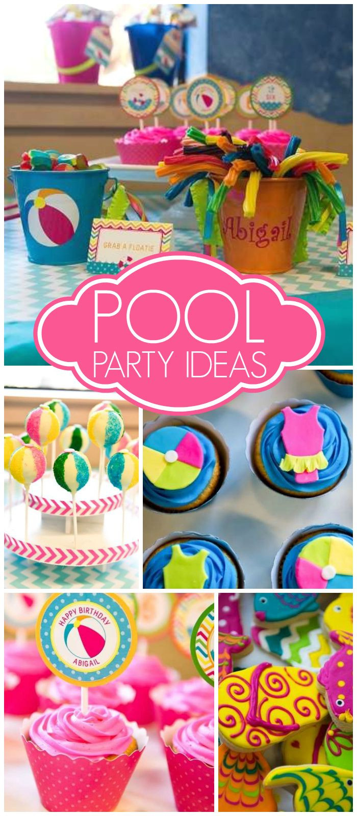Pool Party Ideas For Girls  Love this bright and cheery hot pink and turquoise pool