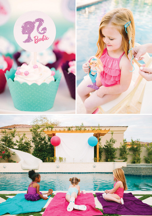 Pool Party Ideas For Girls  Pearl Princess Barbie Pool Party Movie Inspired