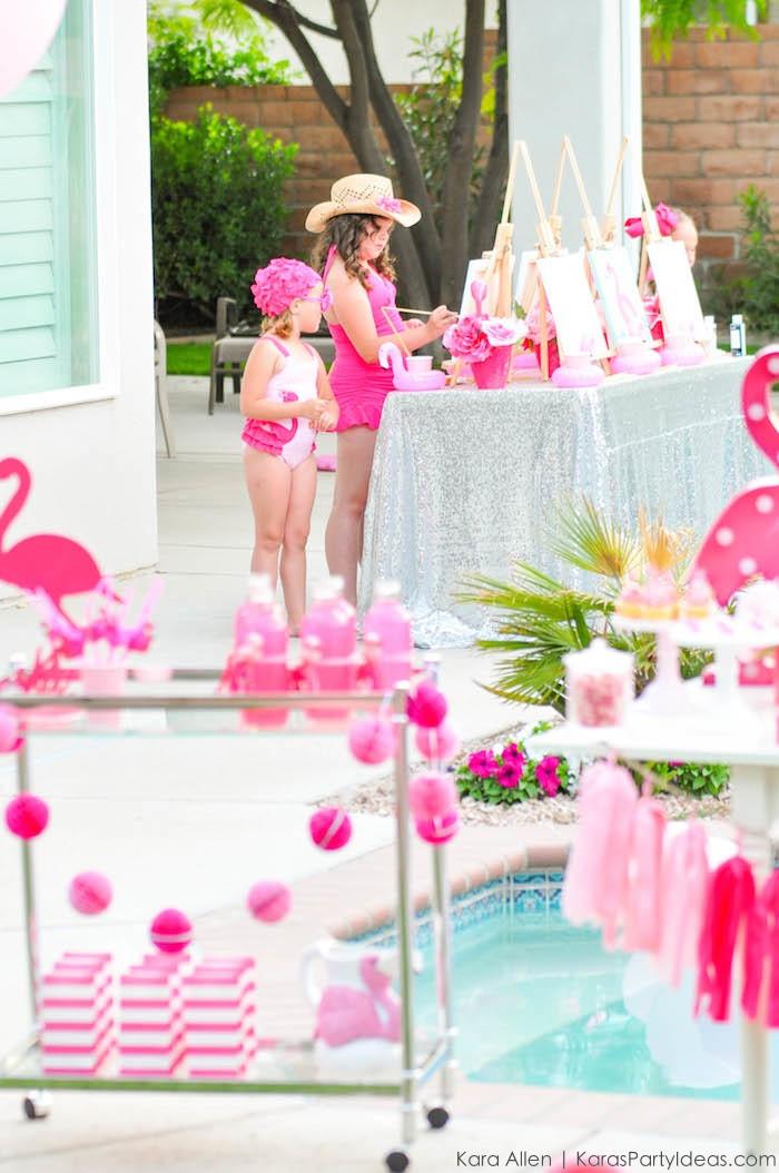 Pool Party Ideas For Girls  Kara s Party Ideas Flamingo Pool Art Summer Birthday