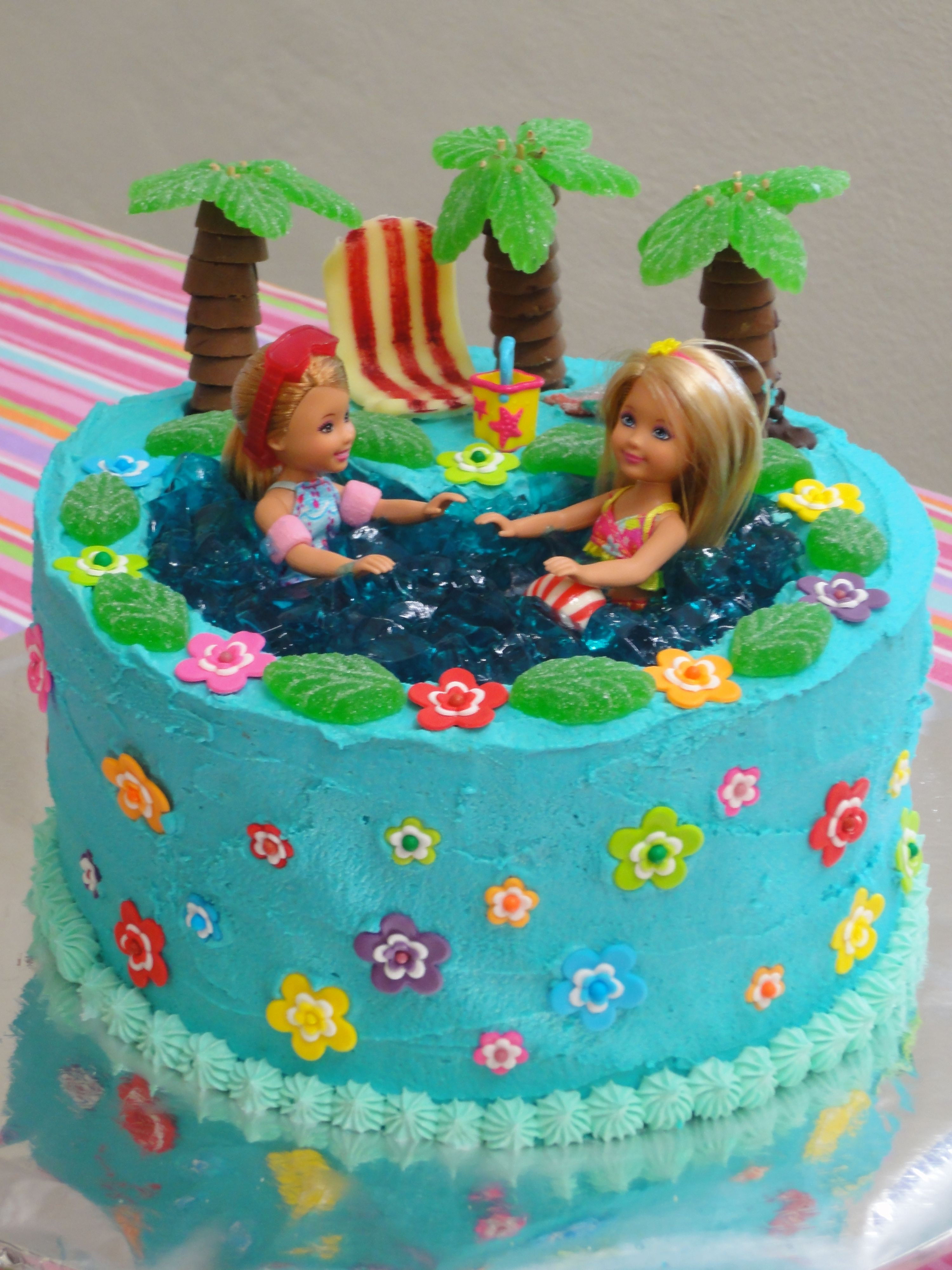Pool Party Ideas For Girls  Barbie pool party birthday cake made by me