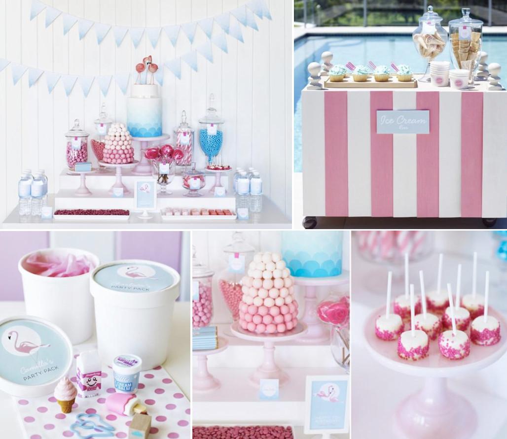 Pool Party Ideas For Girls  Kara s Party Ideas Retro Pink Flamingo Girl Birthday