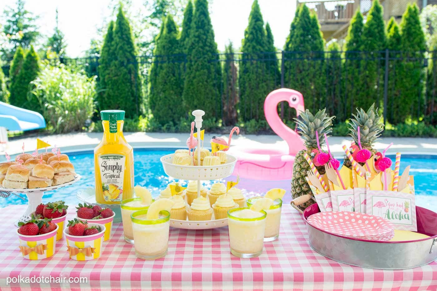 Pool Party Ideas  Summer Backyard Flamingo Pool Party Ideas The Polka Dot