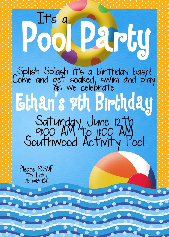 Pool Party Invitations Ideas  Kid Pool Party Invitation Wording