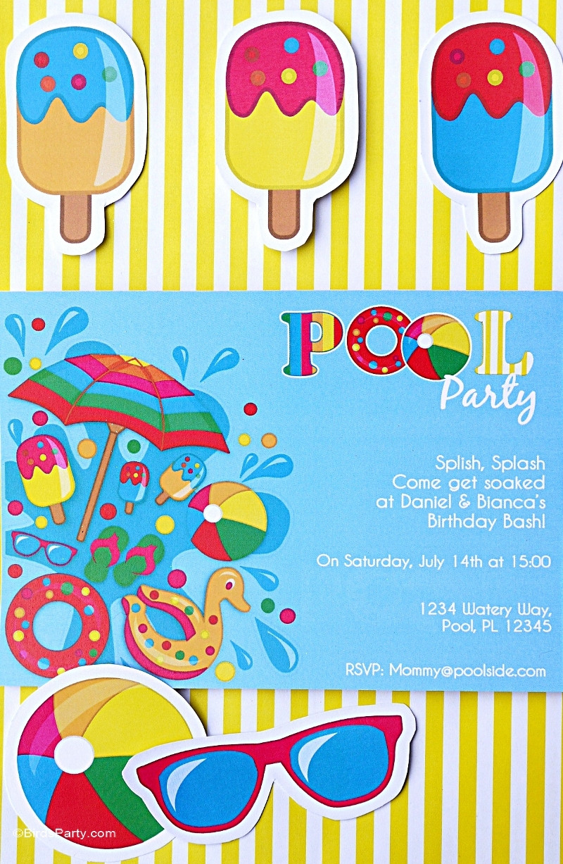 Pool Party Invitations Ideas  Pool Party Ideas & Kids Summer Printables Party Ideas