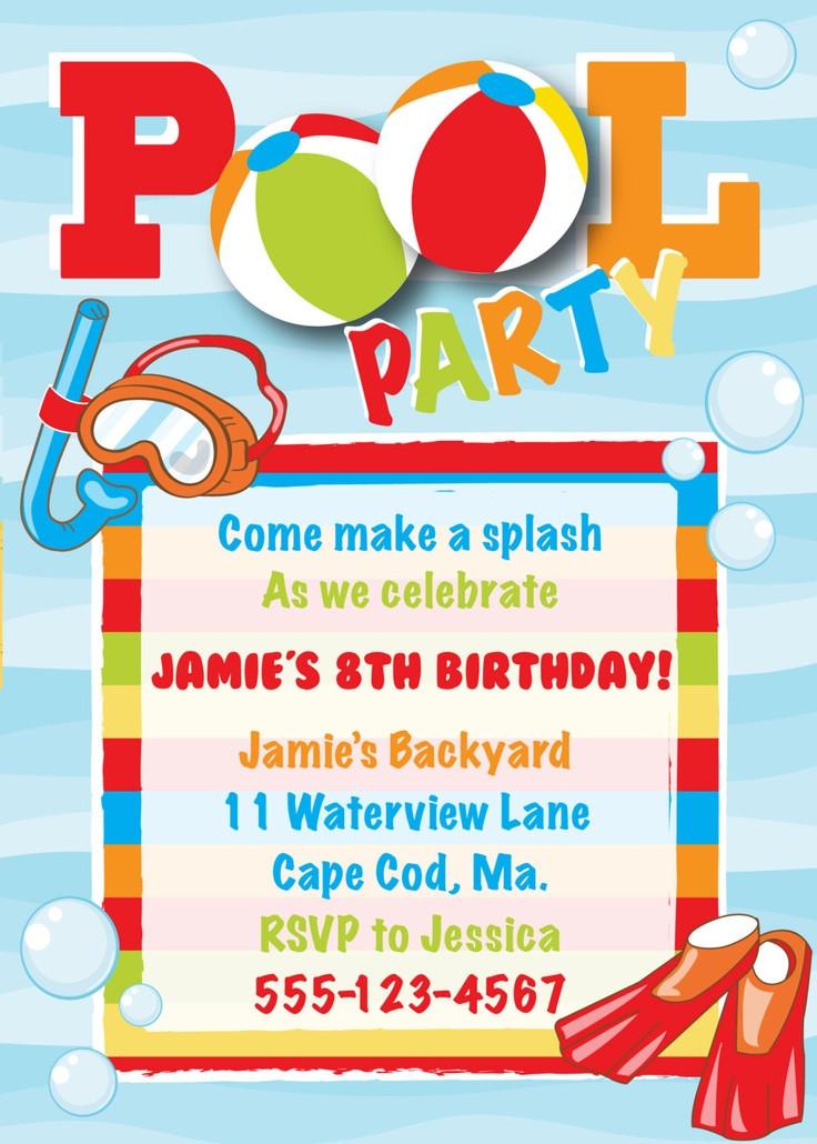 Pool Party Invitations Ideas  Pool Party Birthday Invitation Boy
