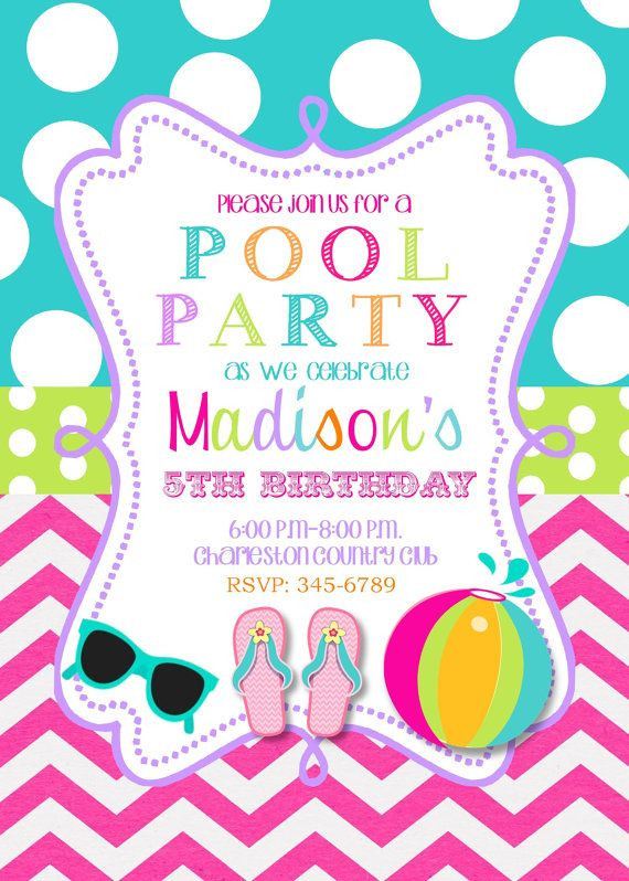 Pool Party Invitations Ideas  Best 25 Swim party invitations ideas on Pinterest