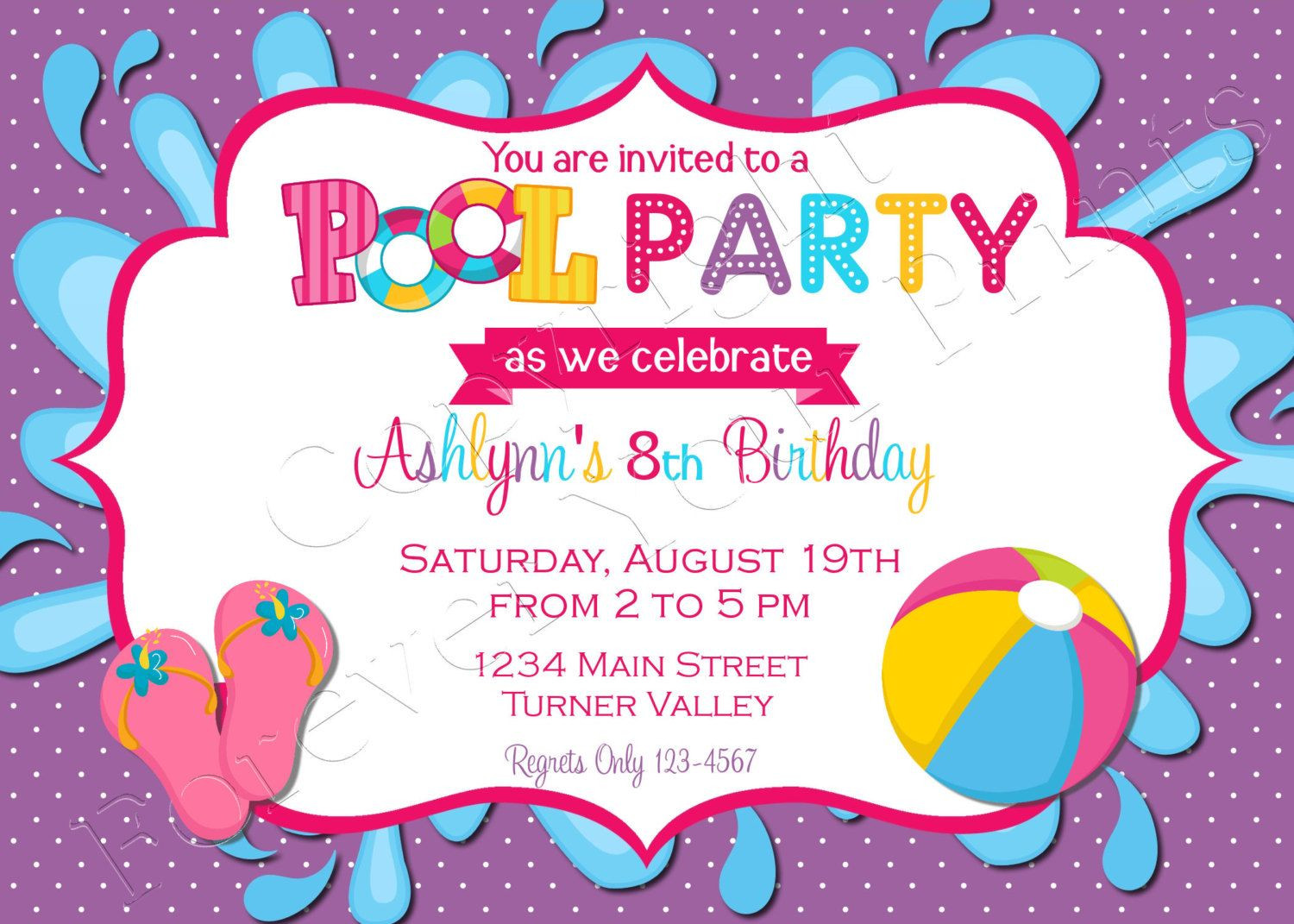 Pool Party Invitations Ideas  Pool Party Birthday Invitation FREE Thank You Card