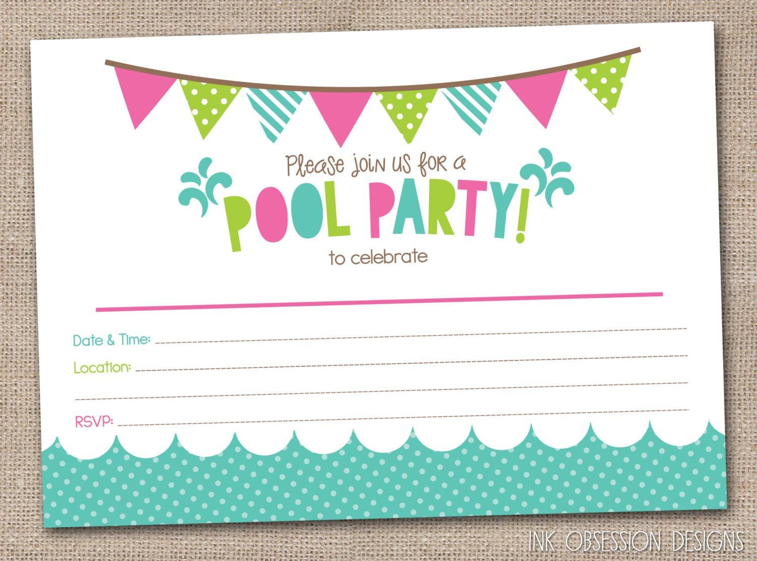 Pool Party Invitations Ideas  Free Printable Pool Party Birthday Invitations