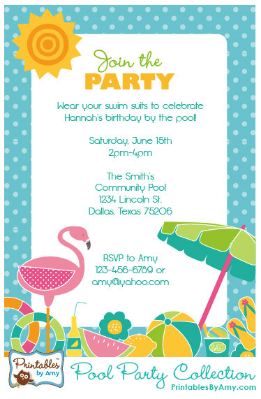 Pool Party Invitations Ideas  Pool Party Collection Printables