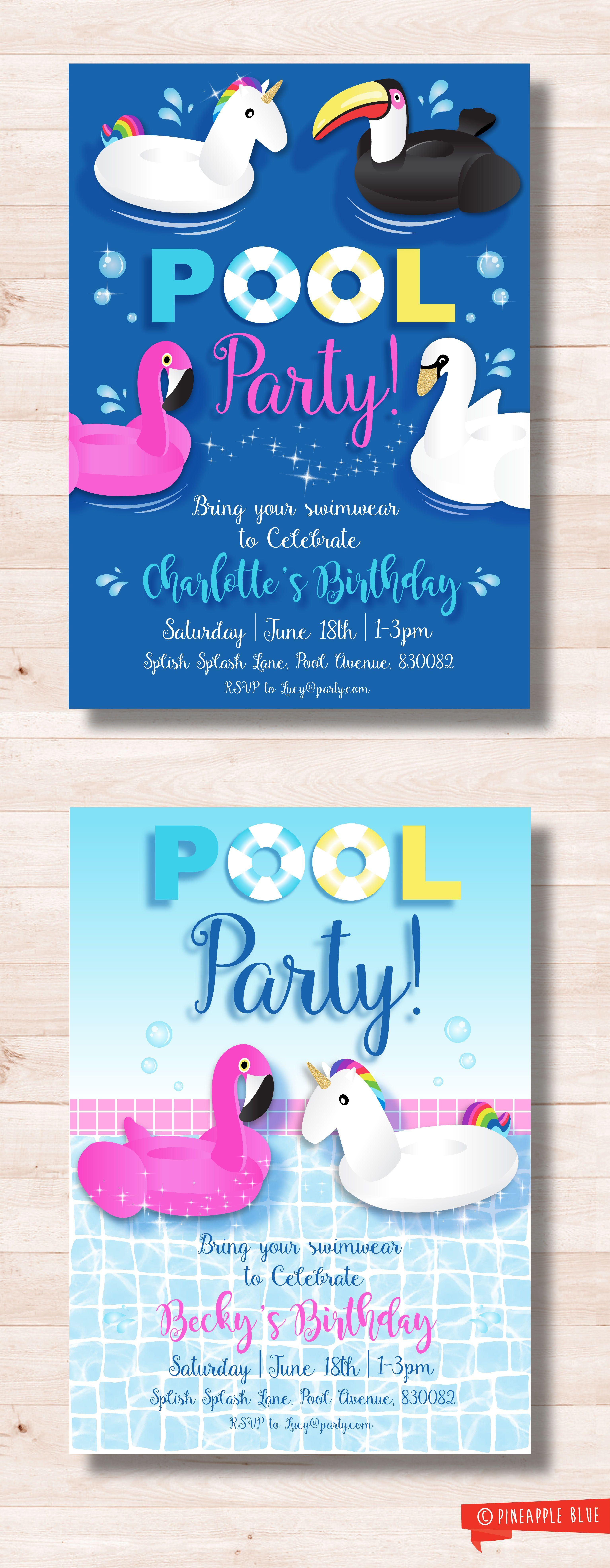 Pool Party Invitations Ideas  Unicorn pool party invitation