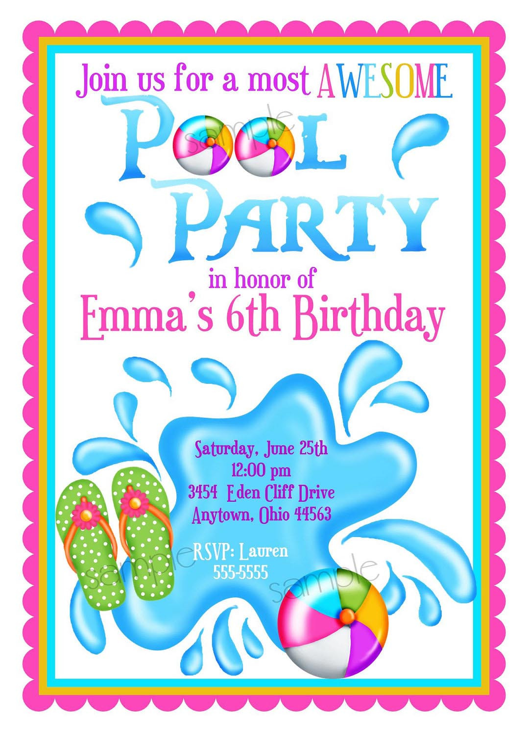Pool Party Invitations Ideas  Kids Pool Party Invite