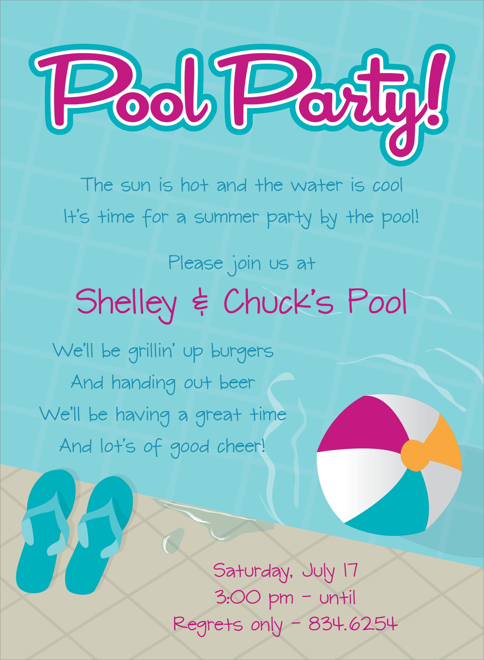 Pool Party Invitations Ideas  Pool Party Free line Invitations
