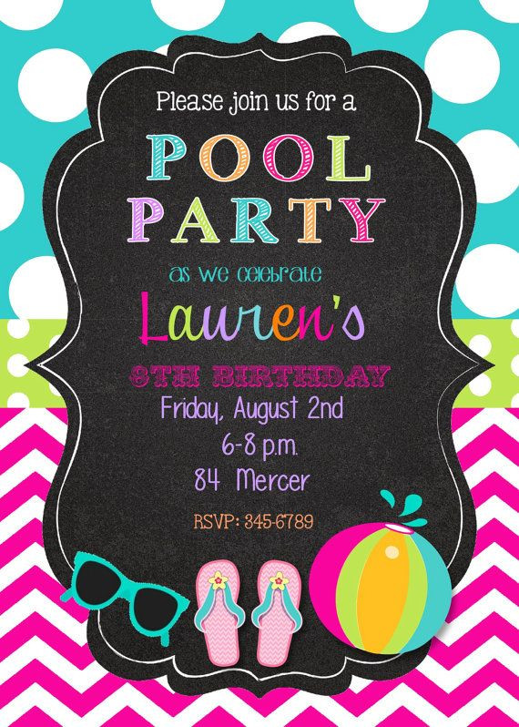 Pool Party Invitations Ideas  25 best ideas about Swim Party Invitations on Pinterest