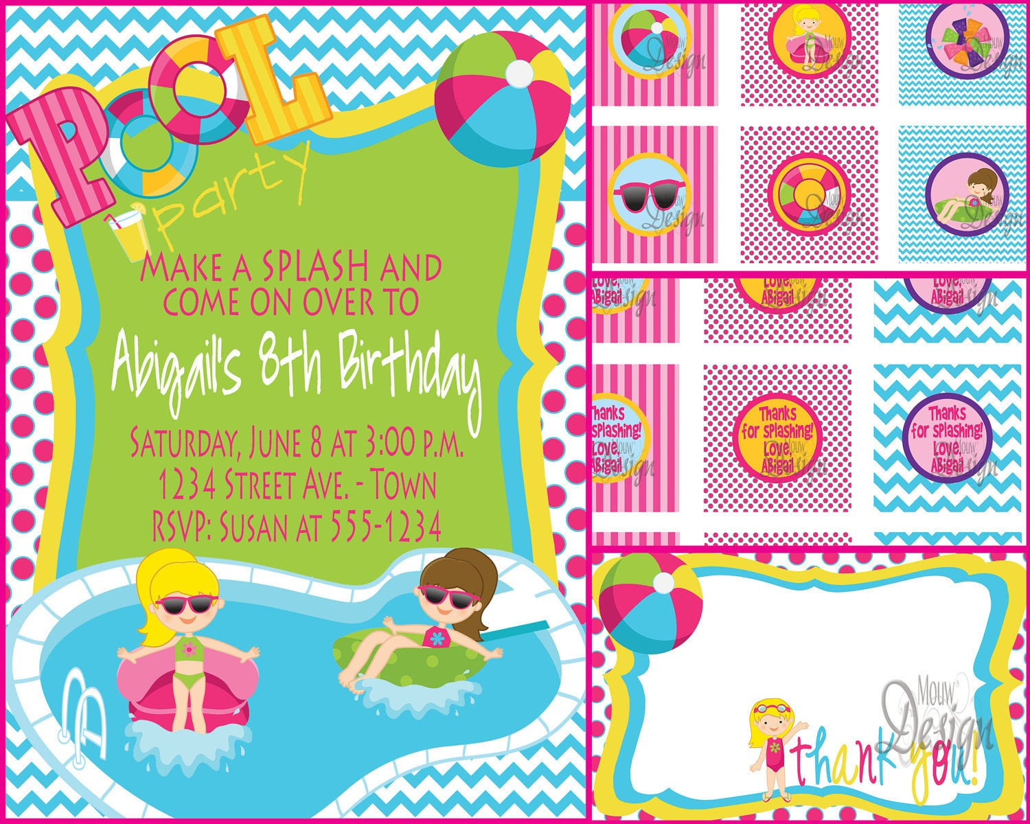 Pool Party Invitations Ideas  Pool Party Invitation or Water Party Birthday Party by