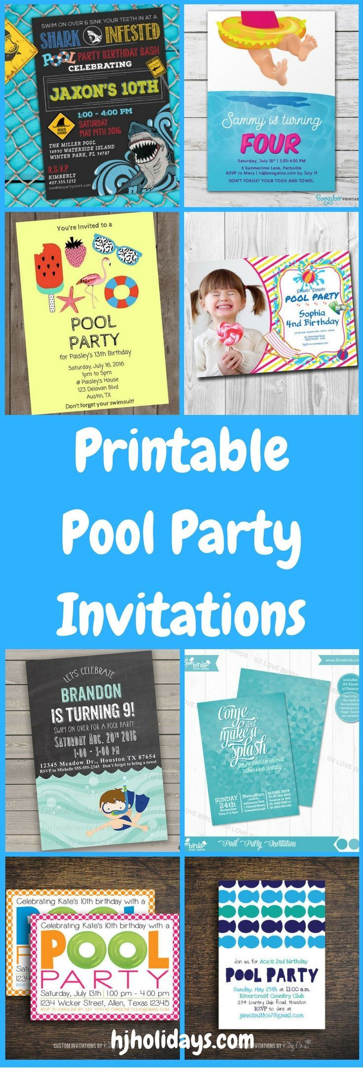 Pool Party Invitations Ideas  Printable Pool Party Invitations for Kids