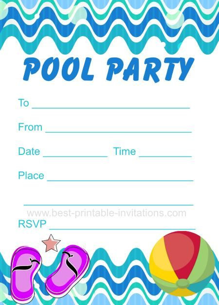 Pool Party Invitations Ideas  Pool Party Invitation Free printable party invites from