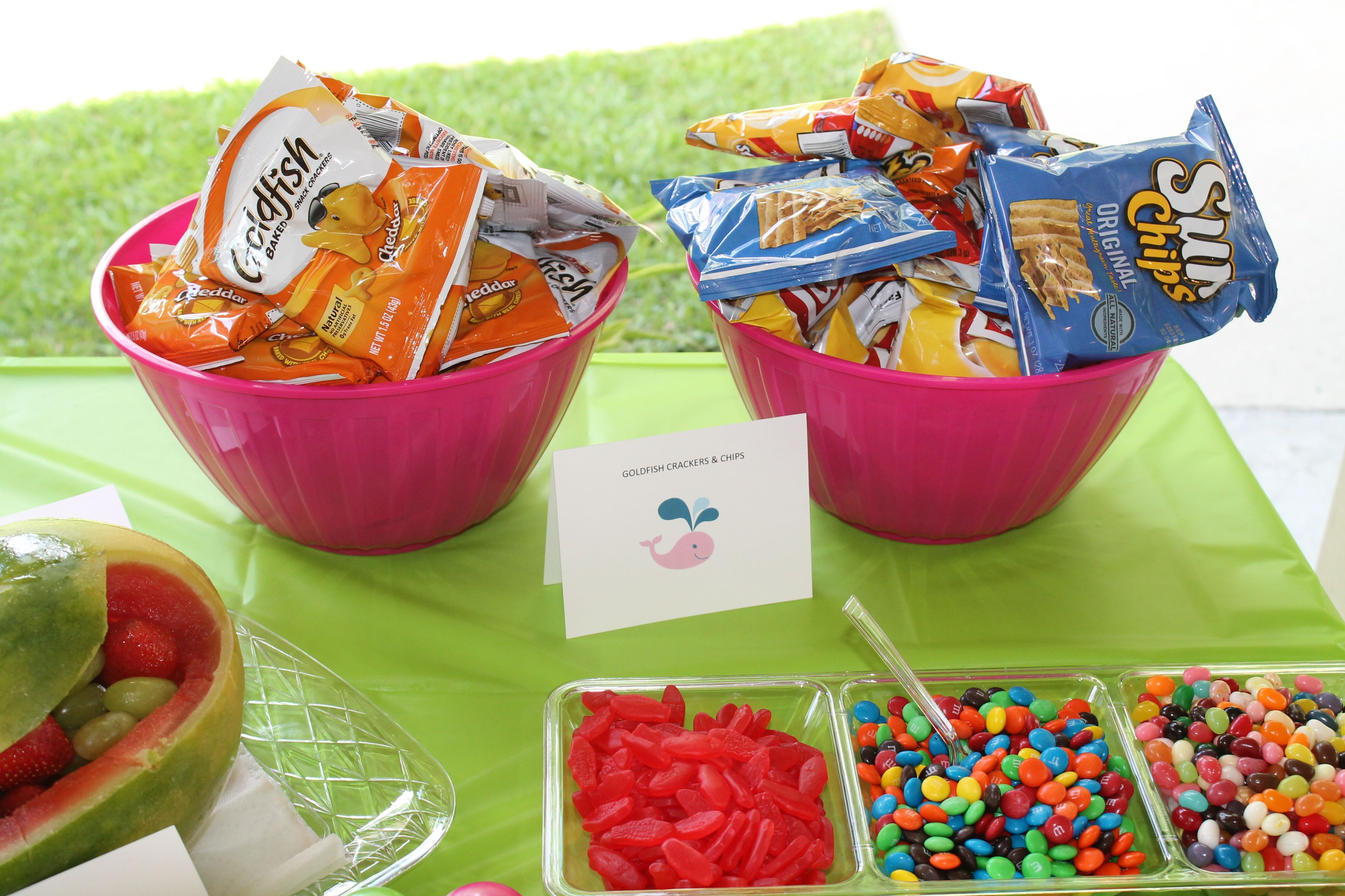 Pool Party Snack Ideas  Goldfish crackers fit the theme but the chips were more