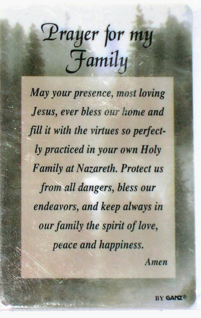 Prayers For My Family Quotes  PRAYER FOR MY FAMILY Wallet Prayer Card Inspirational
