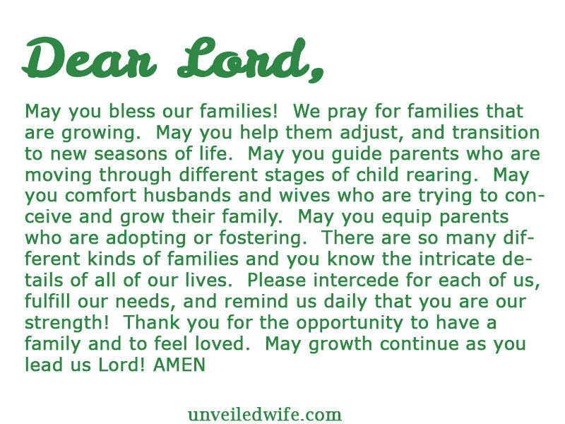 Prayers For My Family Quotes  Prayer The Day Growing Families