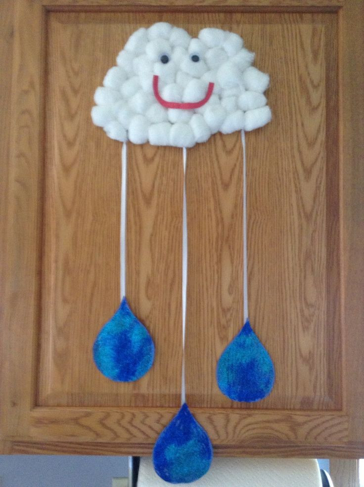 Preschool Arts And Craft  Cotton ball cloud and rain drops…we will make a few more