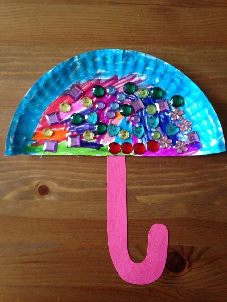 Preschool Arts And Craft  Paper Plate Umbrella Craft Preschool Craft