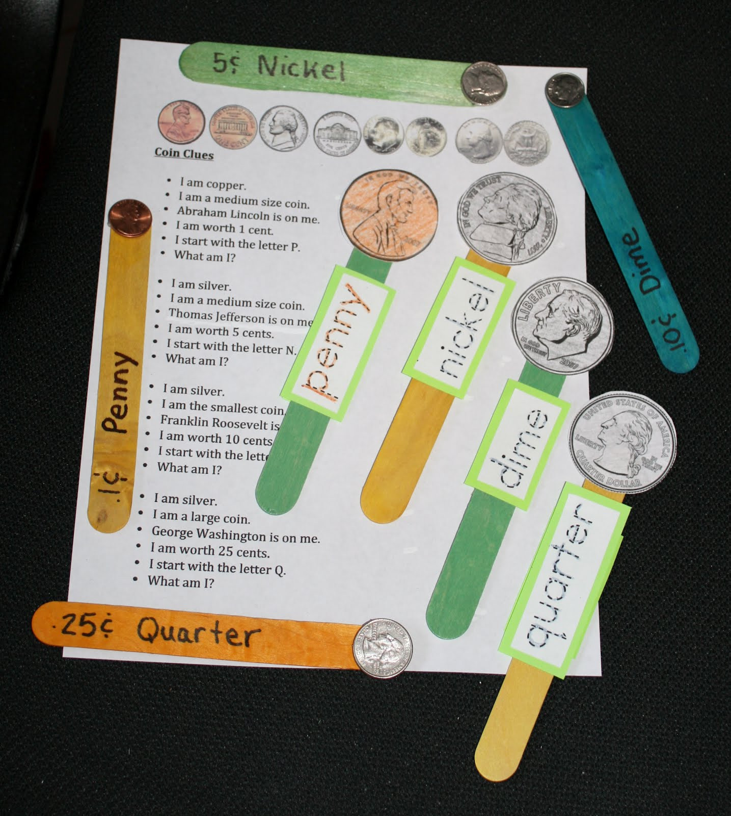 Preschool Money Crafts  Classroom Freebies Too PK 2 Coin Popsicle Stick ID Game