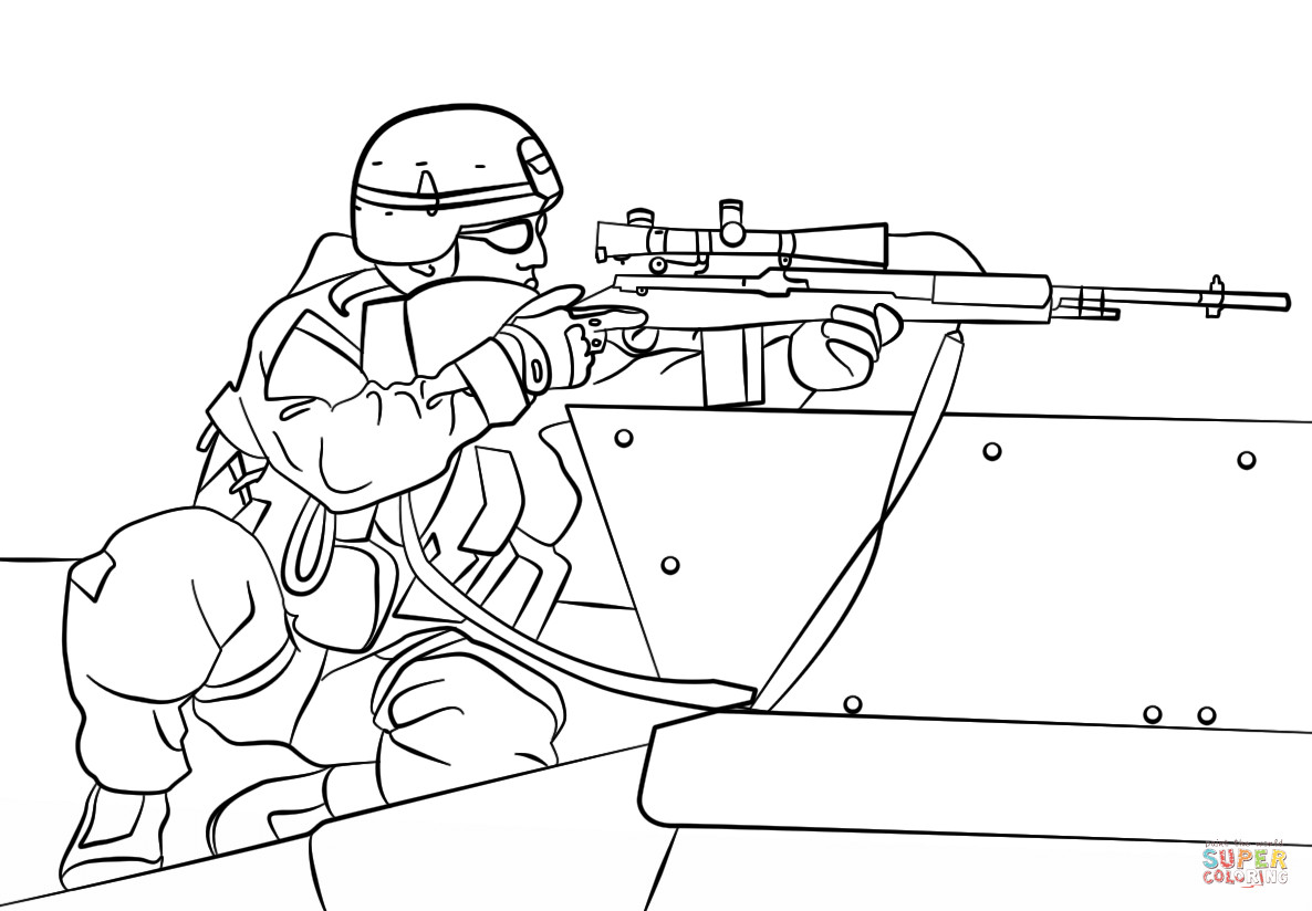 Printable Army Coloring Pages  Army Sniper coloring page