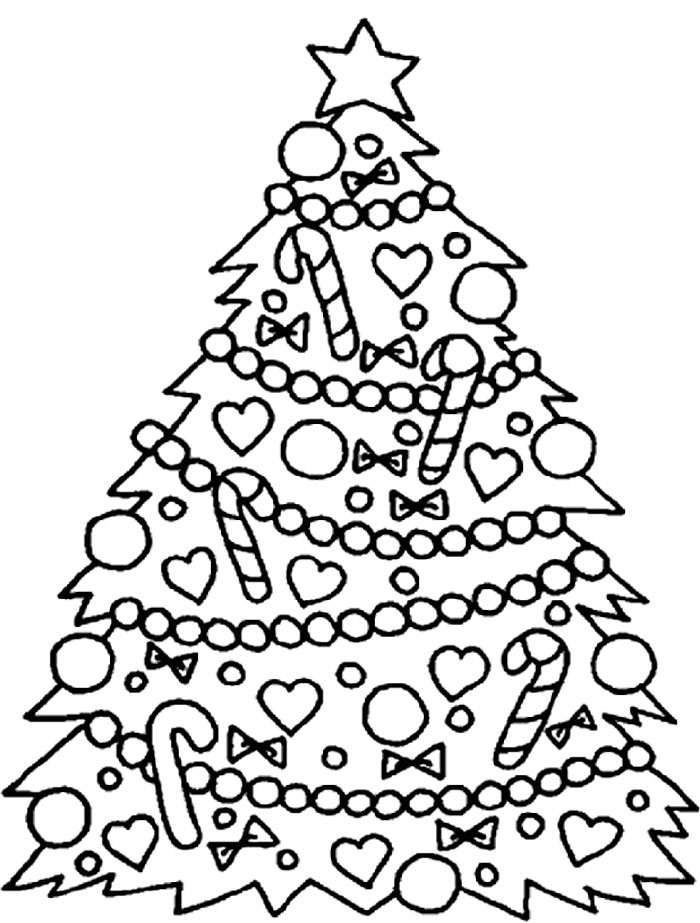 Printable Christmas Tree Coloring Pages  Christmas Tree Ornaments Coloring Pages AZ Coloring Pages